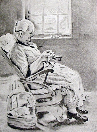 Old Woman Sewing or New England Granny 2